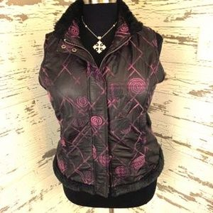 Black and Pink Quilted Puffer vest w/faux fur trim